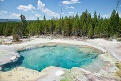 Geotermisk pöl på den Yellowstone nationalparken arkivbilder