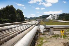geotermisk pipelineströmstation Royaltyfria Bilder