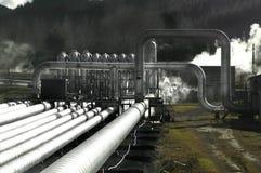 geotermisk ström för fält Arkivfoton