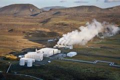 Geotermisk strömstation i Island arkivfoton