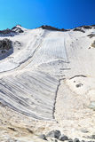 Geotextile fabrics in Presena glacier Stock Photo