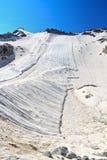 Geotextile fabrics in Presena glacier. Summer view in Presena glacier  with geotextile fabrics, Italian Alps Stock Photo