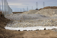 Geotextile Used in Road Construction royalty free stock photo