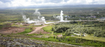Geothermal active fields in Geysir area, Iceland Stock Image