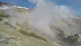Geothermal area, activity of natural volcanic hot springs stock video footage