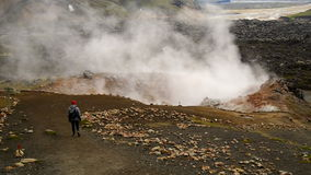 Geothermal area in Landmannalaugar, Iceland. Hot steam from a geothermal pool in Landmannalaugar, Iceland stock footage