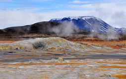 Geothermal area and mountain Stock Photography