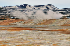 Geothermal area and mountain Stock Images