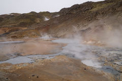 Geothermal area, Seltún, Krýsuvik, Iceland. The geothermal area of Seltún, Krýsuvik in Iceland with boardwalks, colorful sediments, mudpots, hot stock photos