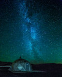 The Milkyway. A geothermal drillhole in Iceland on a starlit night with the Milkyway in the background stock images