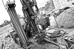 Geothermal drilling machine black and white Stock Photos