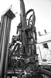 Geothermal drilling machine black and white Stock Image