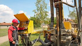 Geothermal Drilling Rig Equipment Royalty Free Stock Photography