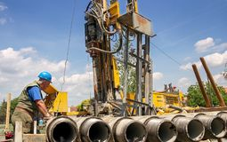 Geothermal Drilling Rig Workers Stock Photos
