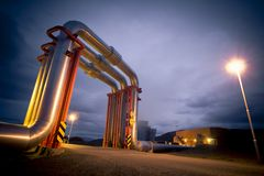 Geothermal energy pipeline Stock Photo