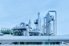 Geothermal energy. Pipes of a power station. Royalty Free Stock Photos