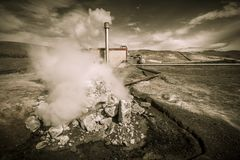 Geothermal energy plant Stock Photo