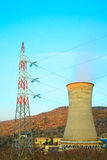 Geothermal energy, power station. Cooling tower Stock Photos