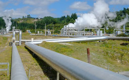 Renewable Energy. Steam pipes for geothermal renewable energy Stock Photos