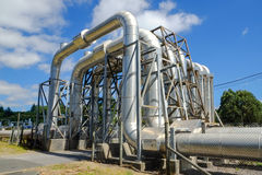Renewable Energy. Steam pipes for geothermal renewable energy stock photography