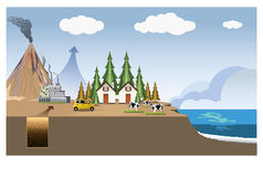 Geothermal heat energy electricity generation. Education infographic. Vector design. Renewable energy is generally defined as energy that is collected from royalty free illustration