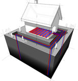 Geothermal heat pump/underfloor heating diagram Stock Photo
