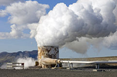 Geothermal hot water well Stock Photos