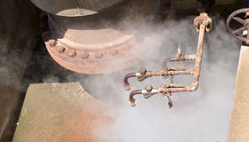 Geothermal hot water well steam pressure valves Royalty Free Stock Image
