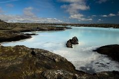 Geothermal lake in lava field, Iceland. Geothermal lake in lava field filled with turquoise water Stock Photography