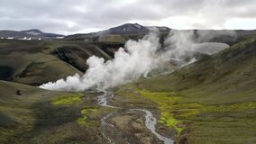Geothermal landscape with hot water and smoke. Geothermal landscape with hot water and smoke in Iceland stock video footage