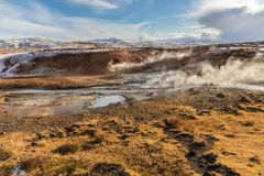 Geothermal landscape in Icelandic land stock photography