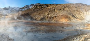 Geothermal landscape in Icelandic land stock photo
