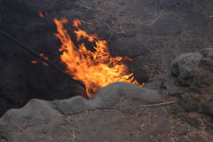Geothermal on Lanzarote. Flames from a hole in Lanzarote Royalty Free Stock Photo