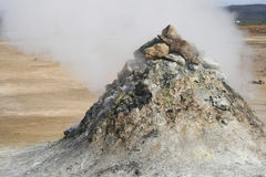 Geothermal pile of sulphuric rock Royalty Free Stock Photos