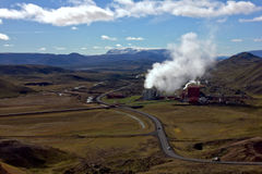Geothermal Plant – Icelandic Power Station. The Krafla geothermal power plant Krafla geothermal power plant taps into a geologic rift zone. It is located in Royalty Free Stock Images