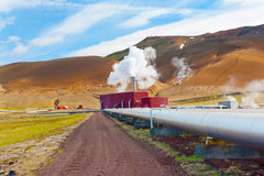 Geothermal plant. Large geothermal plant pumping heat from the Krafla volcano, Iceland royalty free stock images