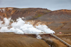 Geothermal plant near Viti crater in Krafla, North Iceland Stock Photography