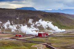 Geothermal plant near Viti crater in Krafla, North Iceland Royalty Free Stock Images
