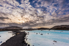 Geothermal pool in Blue lagoon in the morning, Iceland Stock Images