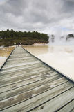 Geothermal Pools. Active volcanic geothermal mineral pools and pathway at Waiotapu Volcanic area, Rotorua, New Zealand Royalty Free Stock Image