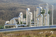 Geothermal power plant. Pipes in a geothermal power plant in Larderello (Tuscany - Italy Stock Images