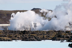 Geothermal power plant. At the Blue Lagoon in Reykjavik, Iceland Royalty Free Stock Photo