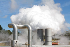 Geothermal power plant emissions Stock Photo