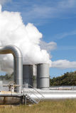 Geothermal power plant emissions Royalty Free Stock Photo