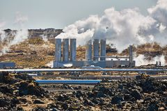 Geothermal power plant. In Iceland stock image