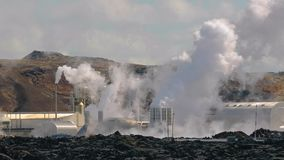 Geothermal power plant. In Iceland stock footage