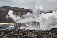 Geothermal power plant. In Iceland through heat haze stock photo