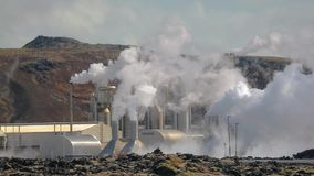 Geothermal power plant. Slow motion from 120 FPS, strong heat haze in the air, Grindavik, Iceland stock video