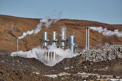 Geothermal power plant. In Iceland royalty free stock photo