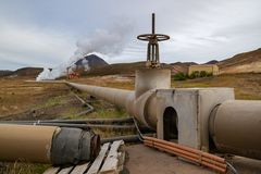 Geothermal power plant on Iceland. Detail of a valve and piping Stock Photography